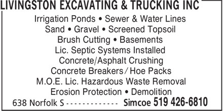 Ads Livingston Excavating & Trucking Inc