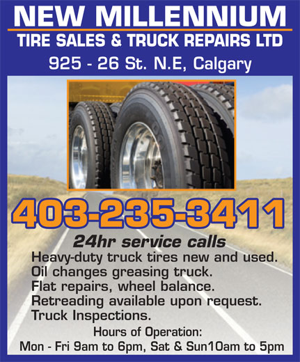 Ads New Millenium Tire Sales & Truck Repairs Ltd