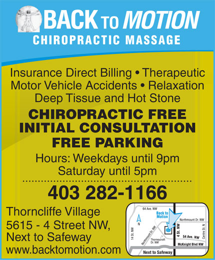 Ads Back To Motion Chiropractic Massage Acupuncture Thorncliffe Village