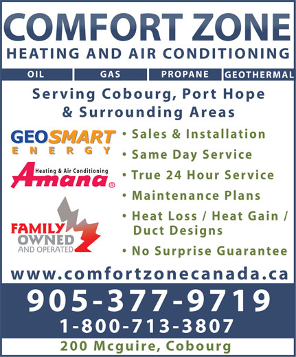 Ads Comfort Zone Heating &amp; Air Conditioning