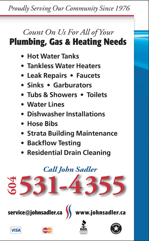 Ads John Sadler Plumbing & Heating