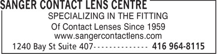 Ads Sanger Contact Lens Centre