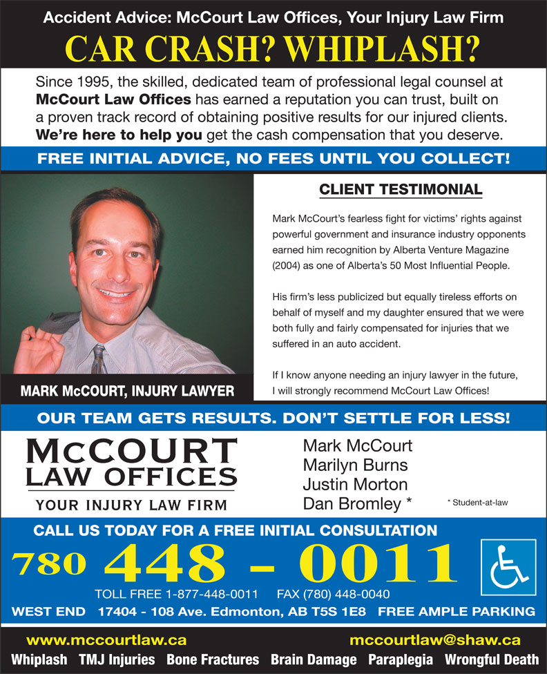 Ads Accident Advice - McCourt Law Offices-Injury Lawyers