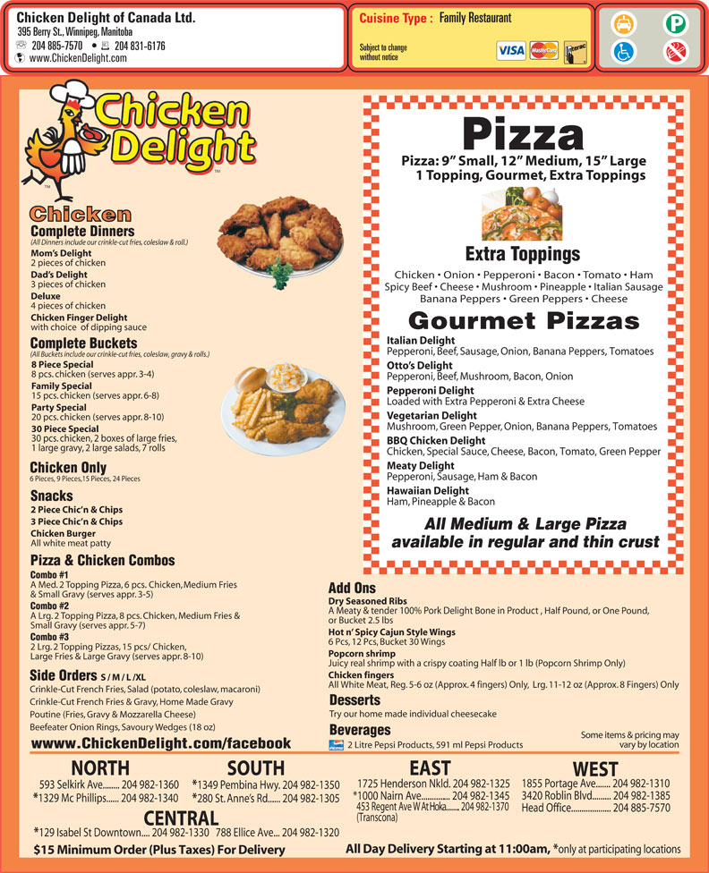 menu Chicken Delight Of Canada Ltd