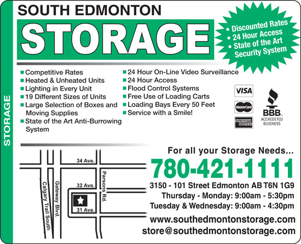 Ads South Edmonton Storage