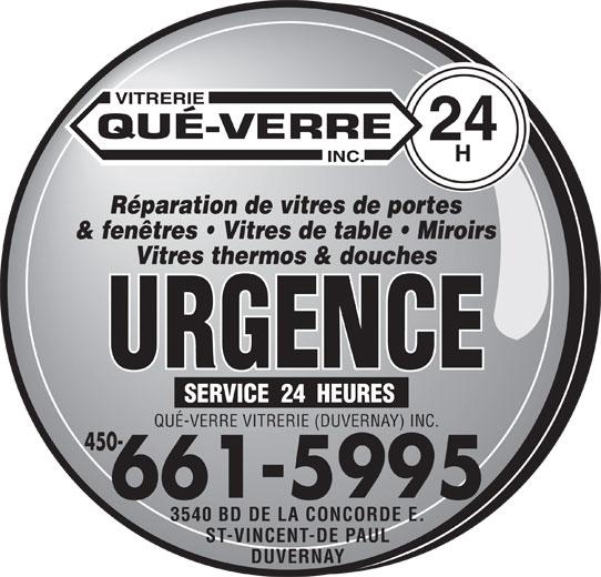 Qu verre vitrerie duvernay inc laval qc 3540 boul for Reparation fenetre quebec