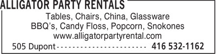 Ads Alligator Party Rentals