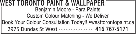 Ads West Toronto Paint &amp; Wallpaper