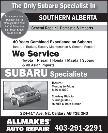 Ads Allmakes Auto Repair - Subaru Specialist