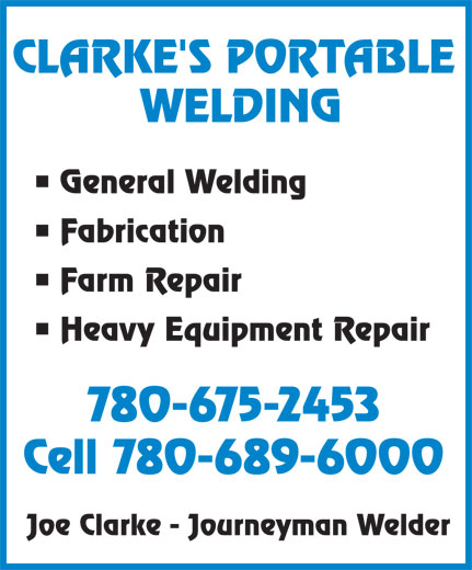 Ads Clarke's Portable Welding