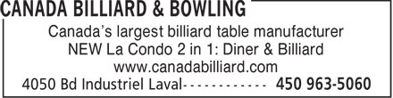 Ads Canada Billiard &amp; Bowling Inc