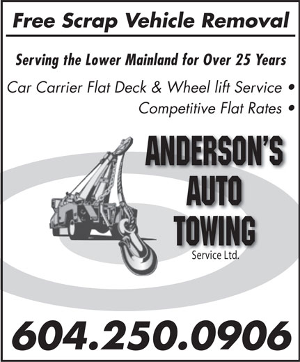 Ads Andersons&#039; Auto Towing Service Ltd