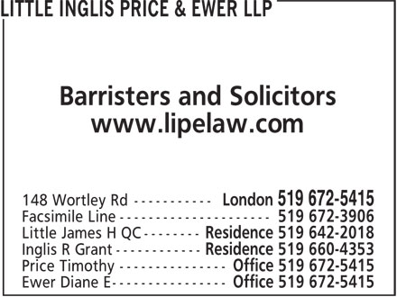 Ads Little, Inglis, Price &amp; Ewer LLP