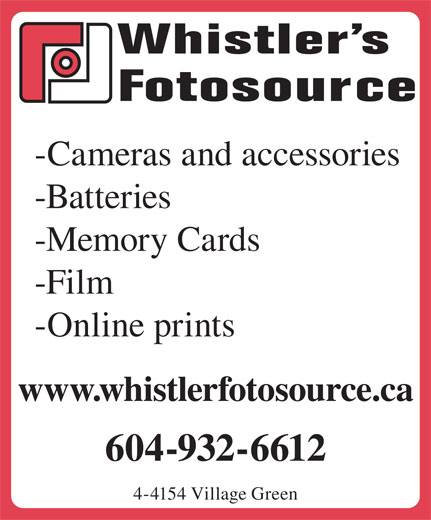 Ads Whistler&#039;s One Hour Foto Source