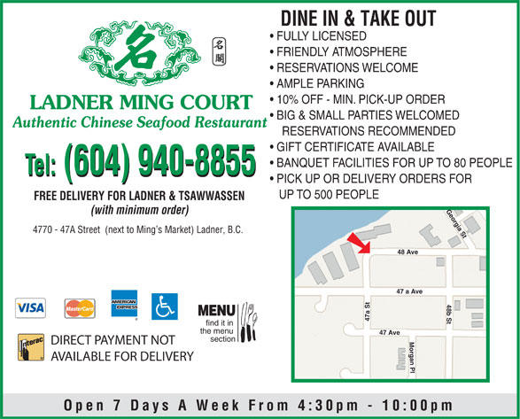 Ads Ladner Ming Court Restaurant