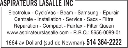 Ads Aspirateurs Lasalle