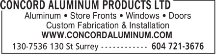 Ads Concord Aluminum Products Ltd