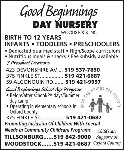 Ads Good Beginnings Day Nursery Woodstock Inc