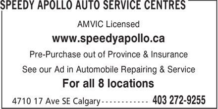 Ads Speedy Apollo Auto Service Centres - Forest Lawn