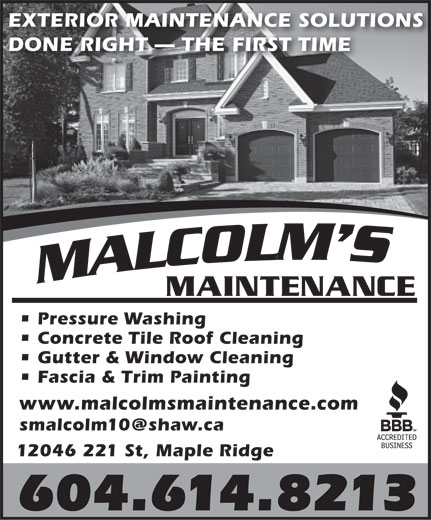 Ads Malcolm's Maintenance - Fully Licensed & Insured Free Estimates
