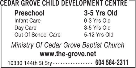 Ads Cedar Grove Child Development Centre
