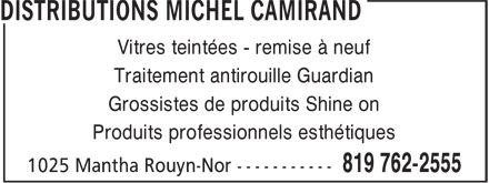 "Ads Distributions Michel Camirand - ""Shine On"" produit esthétique"