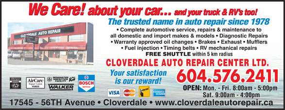 Ads Cloverdale Auto Repair Center Ltd