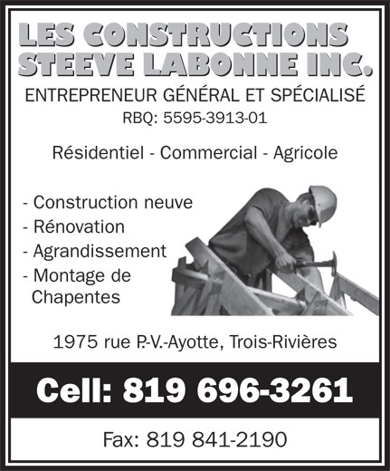 Ads Les Constructions Steeve Labonne Inc