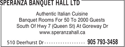 Ads Speranza Banquet Hall Ltd