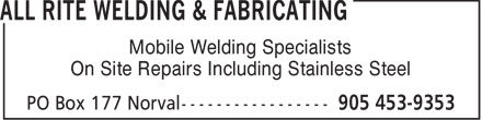 Ads All Rite Welding &amp; Fabricating