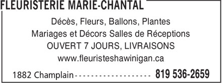 Ads Fleuristerie Marie-Chantal