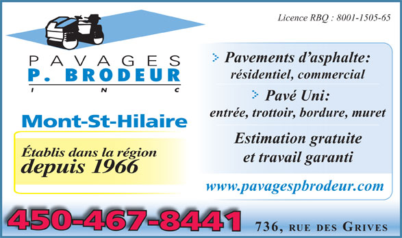 Ads Pavages P Brodeur Inc