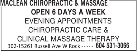 Ads Maclean Chiropractic &amp; Massage