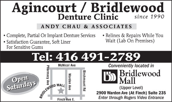 Ads Agincourt Bridlewood Walk-In Denture Clinic - Andy Chau &amp; Associates