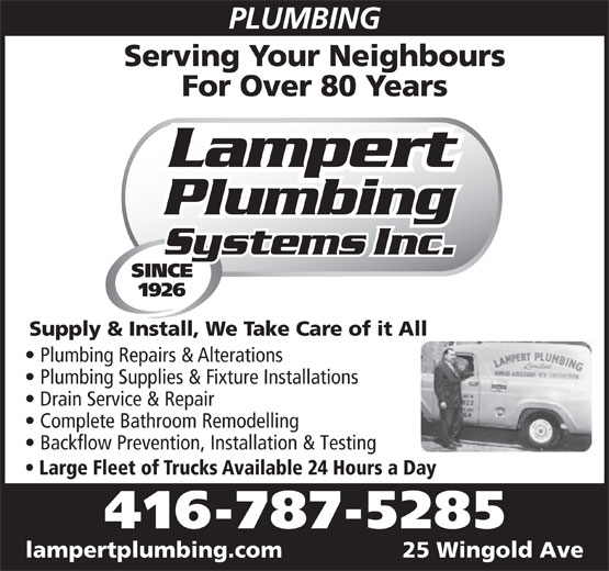 Ads Lampert Plumbing Systems Inc