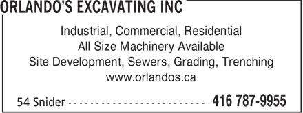Ads Orlando's Excavating Inc
