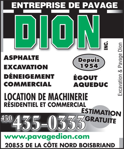 Ads Excavation & Pavage Dion