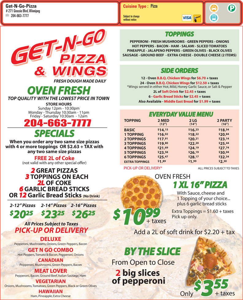 menu Get N Go Pizza & Wings