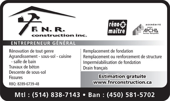 Ads FNR Construction Inc