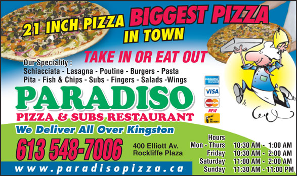 Ads Paradiso Pizza & Subs Restaurant