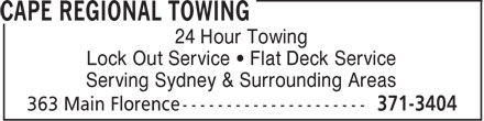 Ads Cape Regional Towing