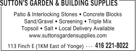 Ads Sutton's Garden & Building Supplies