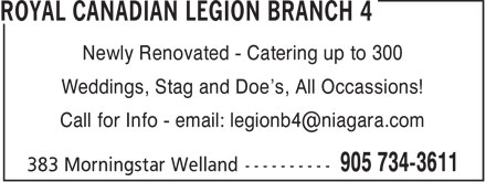 Ads Royal Canadian Legion Branch 4