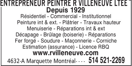 Ads Entrepreneur Peintre R Villeneuve Lte