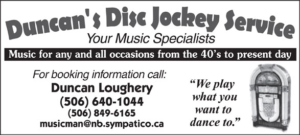Ads Duncan&#039;s Disc Jockey Service
