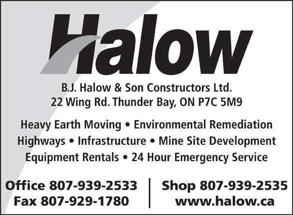 Ads B J Halow &amp; Son Constructors Ltd