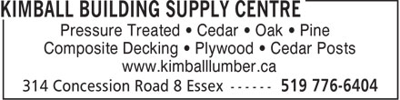 Ads Kimball Building Supply Centre