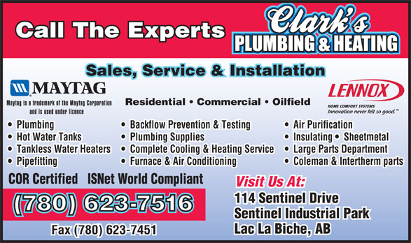 Ads Clark's Plumbing & Heating Corp