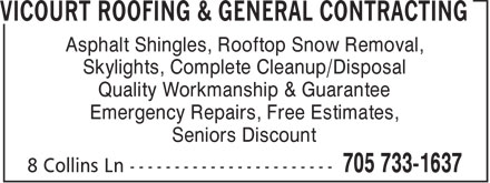Ads Vicourt Roofing &amp; General Contracting