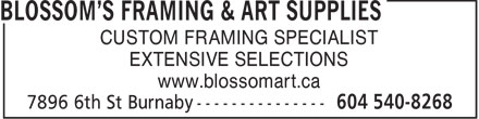 Ads Blossom's Framing & Art Supplies